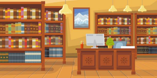modern library with bookshelf vector illustration - library stock illustrations