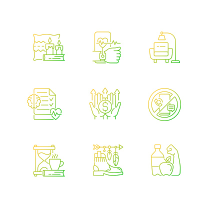 Modern lifestyle and health gradient linear vector icons set
