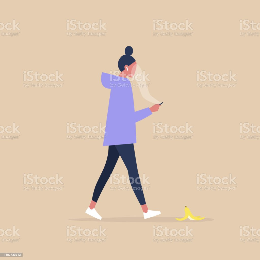 Modern lifestyle, Millennial female character addicted to a smartphone stepping on a banana peel Modern lifestyle, Millennial female character addicted to a smartphone stepping on a banana peel Addiction stock vector