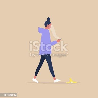 Modern lifestyle, Millennial female character addicted to a smartphone stepping on a banana peel