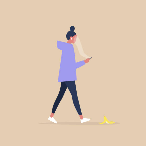Modern lifestyle, Millennial female character addicted to a smartphone stepping on a banana peel Modern lifestyle, Millennial female character addicted to a smartphone stepping on a banana peel careless stock illustrations