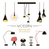 Modern light collection isolated on white. Home furniture. Vector Illustration