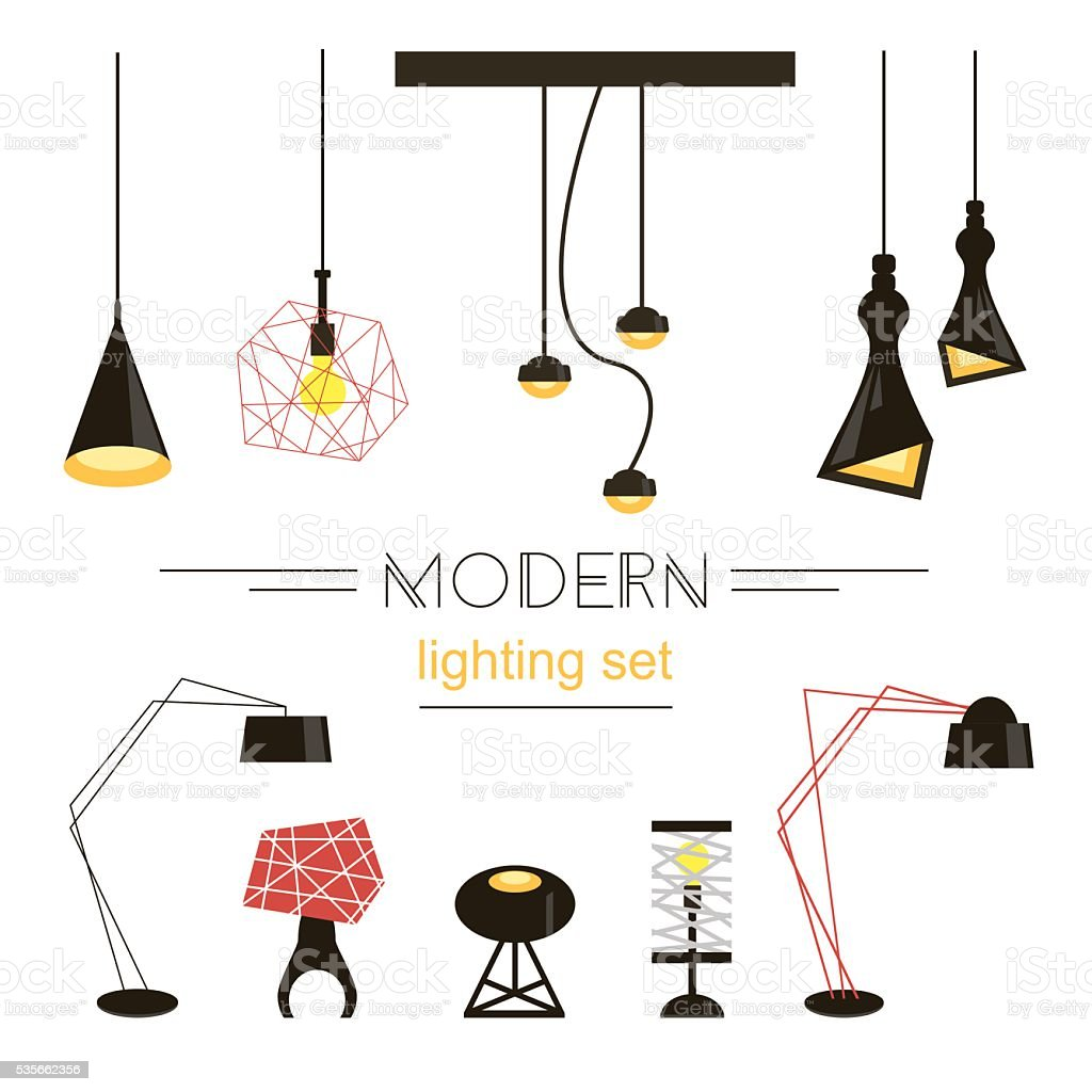Modern light collection isolated on white. Home furniture. Vector Illustration vector art illustration