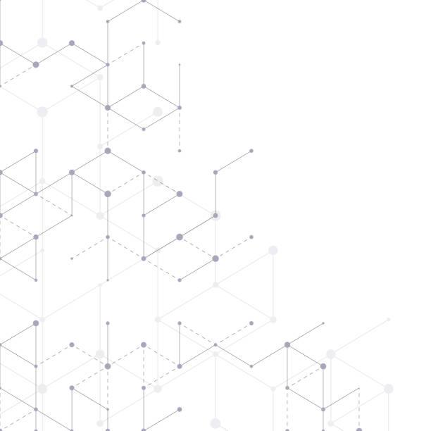 ilustrações, clipart, desenhos animados e ícones de linha moderna teste padrão da arte com linhas de conexão no fundo branco. estrutura de conexão. fundo gráfico geométrico abstrato. tecnologia, conceito da rede digital, ilustração do vetor. - nó