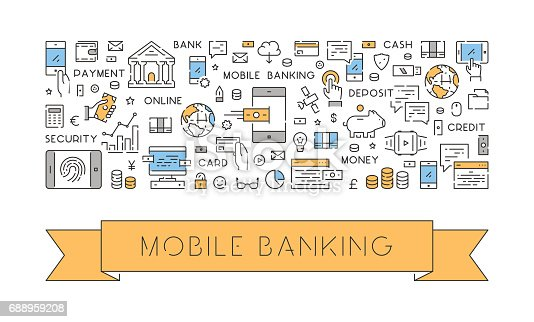 Line web banner for mobile banking. Modern linear concept for mobile payments.