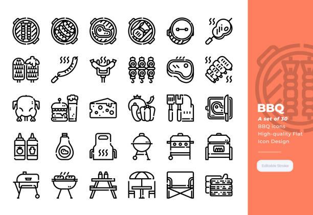 ilustrações, clipart, desenhos animados e ícones de linha moderna ícones ajustados do partido do bbq. ícone do pixel 48x48 perfect. traçado editável. - churrasco