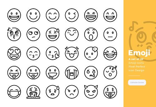 Modern line icons set of Emoji. 48x48 Pixel Perfect icon. Editable Stroke.