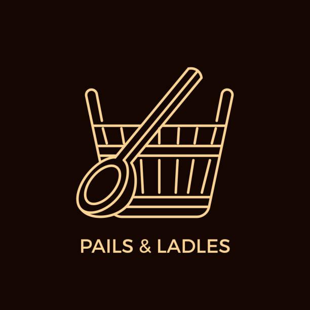 stockillustraties, clipart, cartoons en iconen met moderne stijl sauna logotype regelsjabloon. - sauna