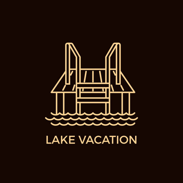 Modern Line Style Sauna Logotype Template. Unique Line Style Vector Logotype Template with Lake Pier. Editable Stroke Vector Icon. Clean and minimalist symbol perfect for your business. Sauna relaxation concept. lakeshore stock illustrations