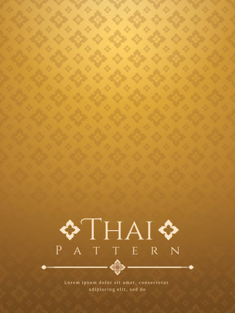 modern line thai pattern traditional concept the arts of thailand - таиланд stock illustrations