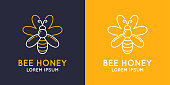 Modern linear emblems for beekeepers. The stickers on the products of the apiary. Stylish vector label for bee honey.