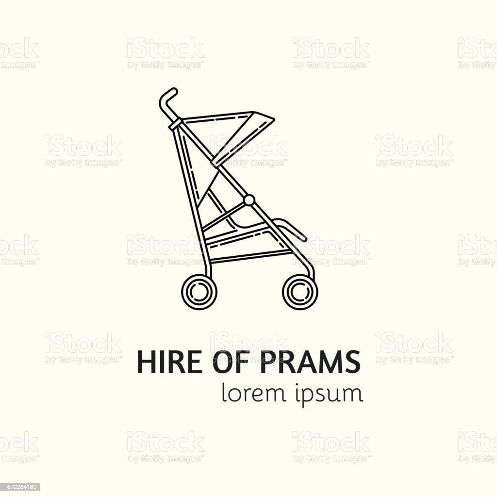 Modern Linear Style Hire of Prams Logotype Template. vector art illustration