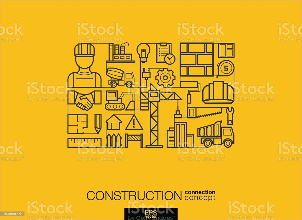 Modern linear style vector concept. Construction vector art illustration