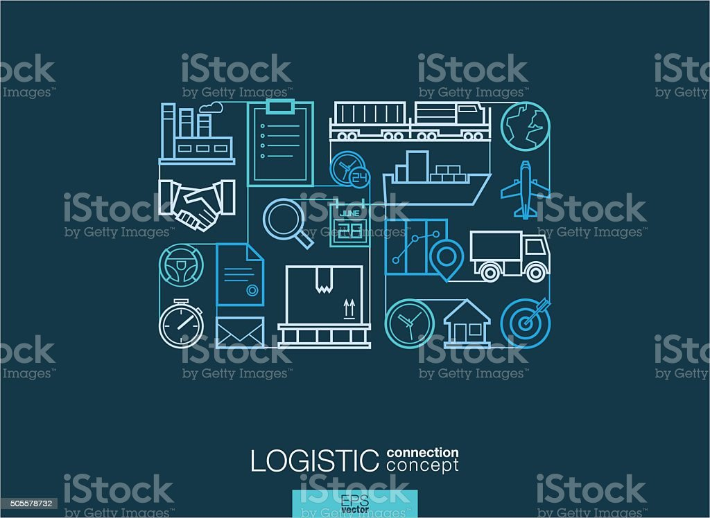 Modern linear style vector concept. Logistic vector art illustration