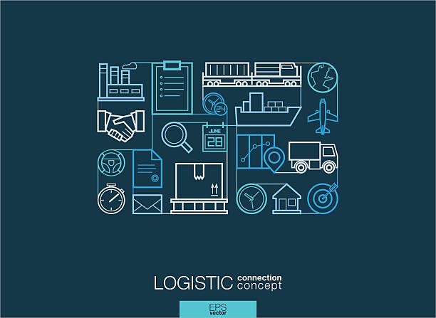 Modern linear style vector concept. Logistic vector art illustration