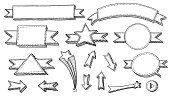 hand drawing line-art banner set.alternative files in zip: eps8, aics2, 300dpi jpeg (6250x3542).