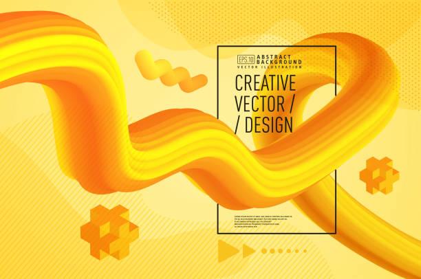 bildbanksillustrationer, clip art samt tecknat material och ikoner med moderna flytande abstrakt 3d bakgrund, guldgul - gul bakgrund
