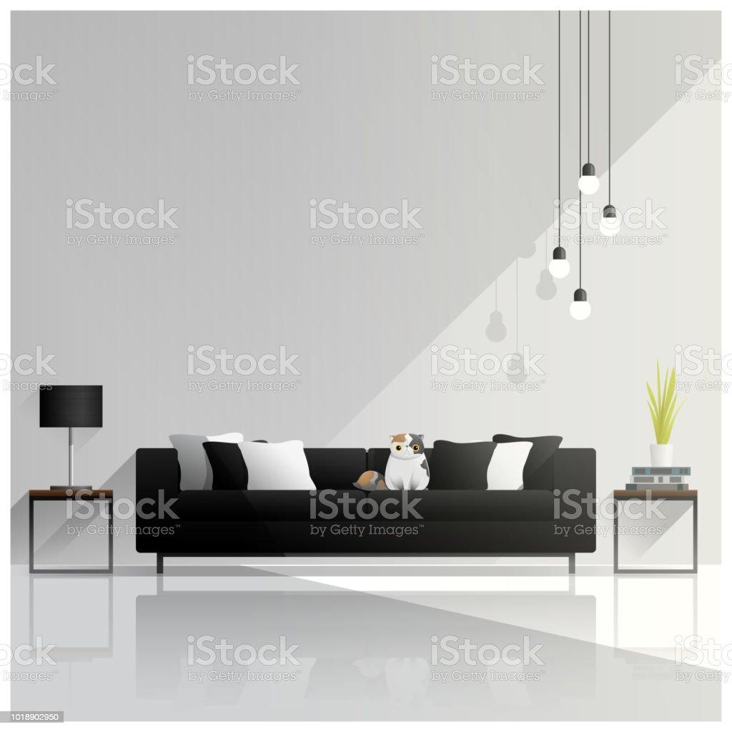 Hauskatze, Hotel, Hotelrezeption, Modell, Möbel. Moderne Wohnzimmer ...