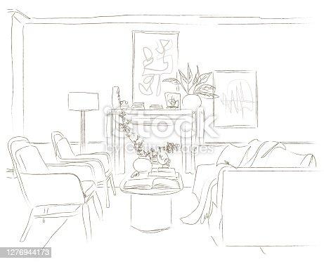 istock Modern Living Room Home Vector Illustration sketch style 1276944173
