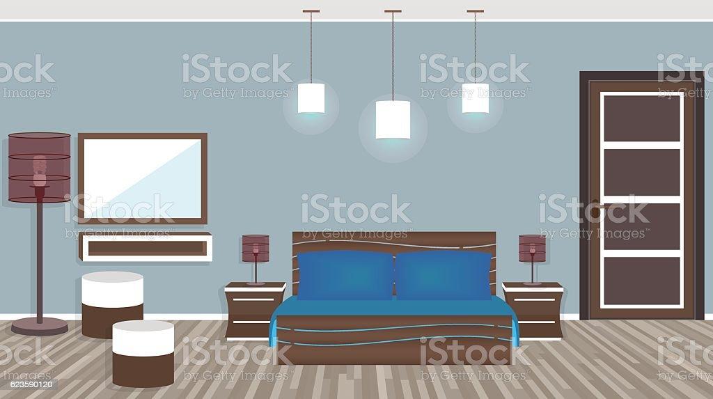 Modern living room in hotel in flat style vector art illustration