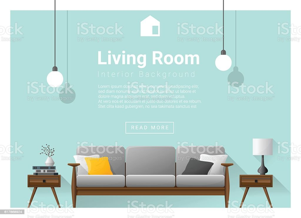 Modern living room Interior background 1 vector art illustration