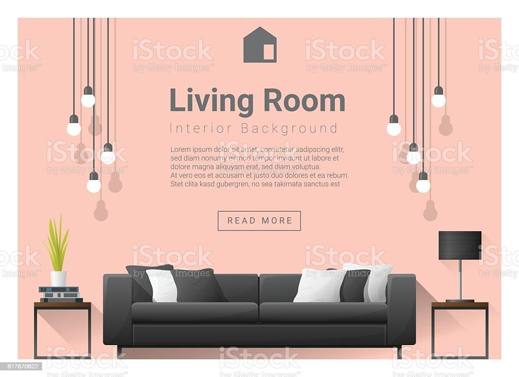 Modern living room Interior background 6 vector art illustration