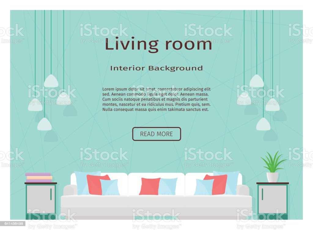 Modern living room interior banner for your web design. vector art illustration