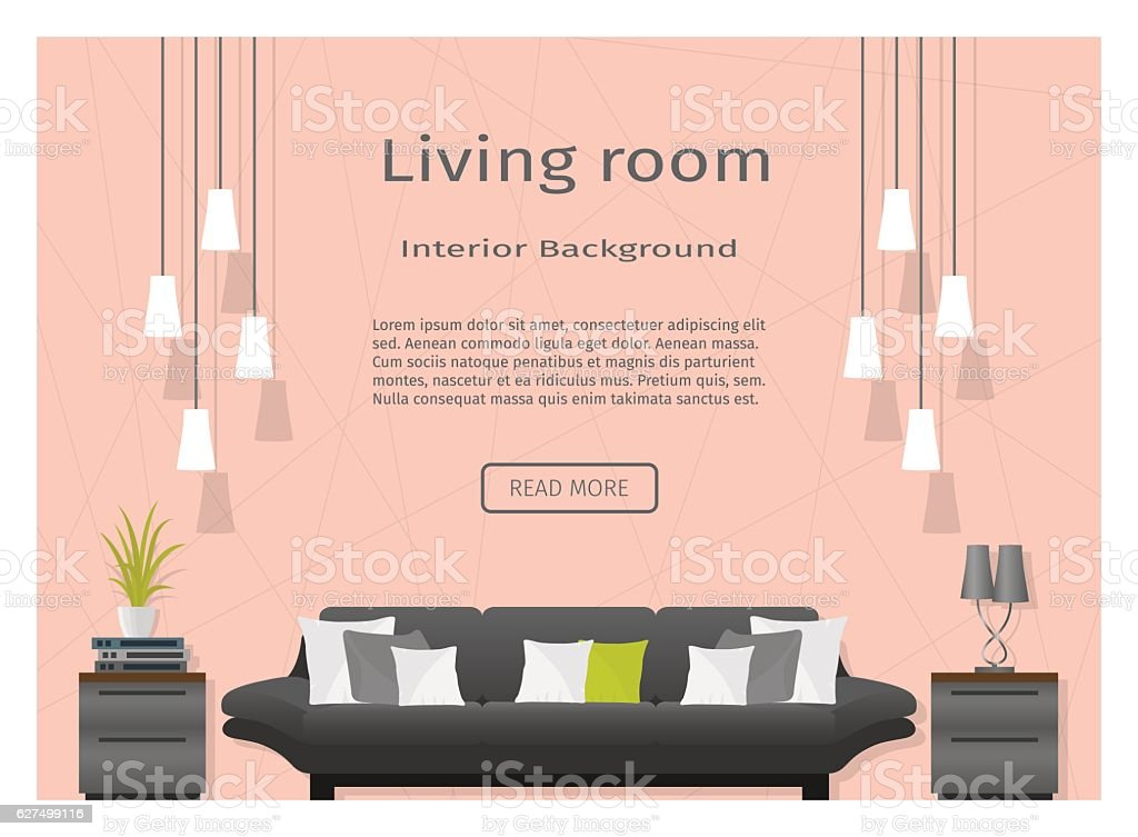Modern Living Room Interior Banner Website Designers stock vector ...