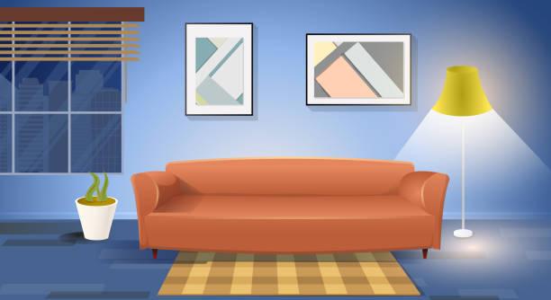 stockillustraties, clipart, cartoons en iconen met moderne woonkamer interieur cartoon vector - photography curtains