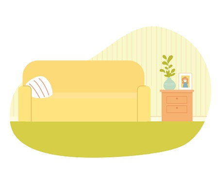 Modern living room interior design background. Room at home with sofa with pillow, cupboard with drawers, plant in pot, photo in frame. Empty cosy area for rest and recreation vector illustration