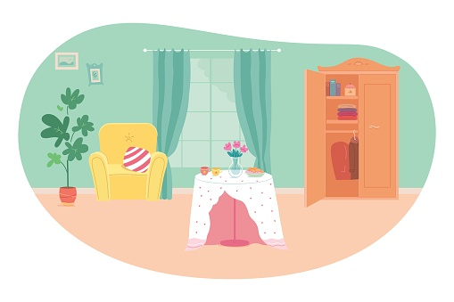 Modern living room interior design background. Room at home with armchair, table, wardrobe, plant, window with curtains. Empty cosy area for rest and recreation vector illustration