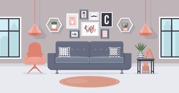 ilustrações de stock, clip art, desenhos animados e ícones de modern living room interior design concept. vector illustration - living room