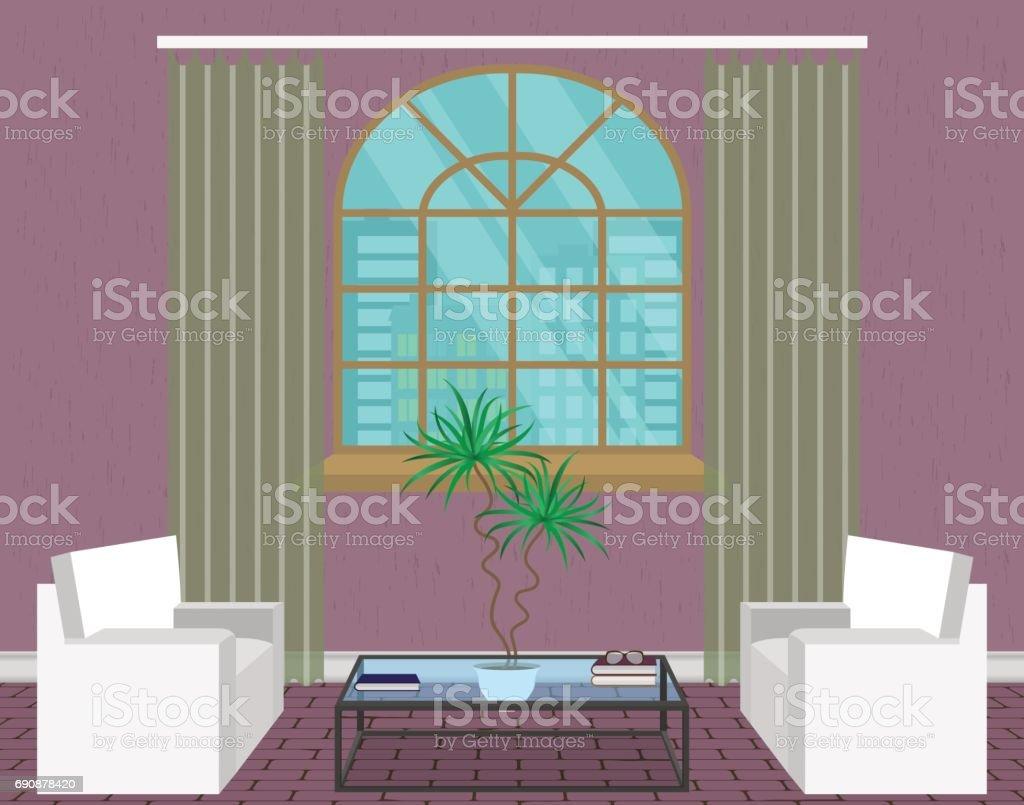 Moderne Wohnzimmer Interior Design. Leichte Loft Mit Sofas, Fenster,  Glastisch Und Zimmerpflanze.