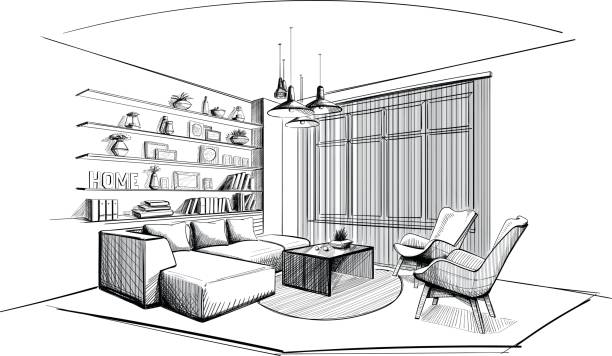 stockillustraties, clipart, cartoons en iconen met moderne woonkamer interieur schets. - interior design