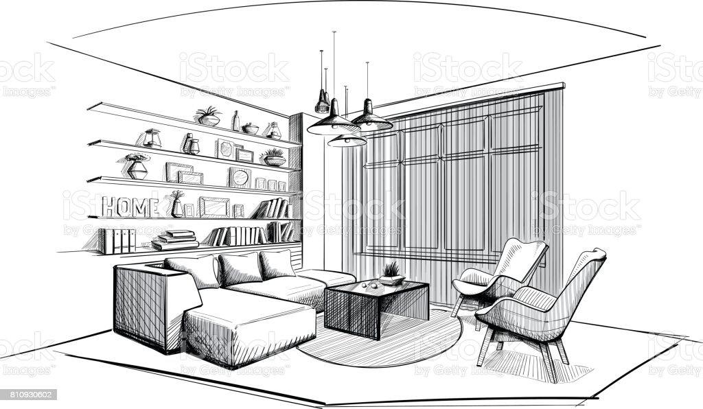 Modern Living room interior sketch. vector art illustration  sc 1 st  iStock & Top Interior Design Clip Art Vector Graphics and Illustrations - iStock