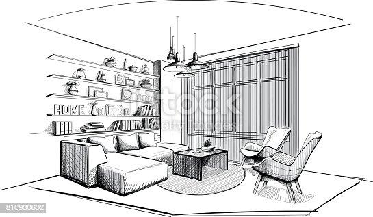 Modern Living Room Interior Sketch Stock Vector Art & More