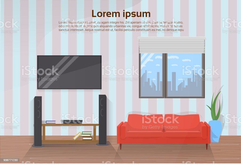Moderne Wohnzimmer Interieur Mit Roten Couch Und Großen Führte Television  Set An Wand Lizenzfreies Moderne Wohnzimmer