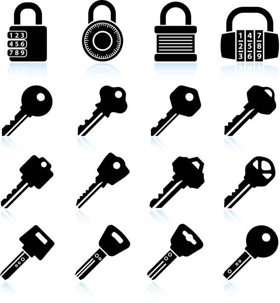 Modern Lock and Keys black & white vector icon set Modern Lock and Keys black & white icon set house key stock illustrations
