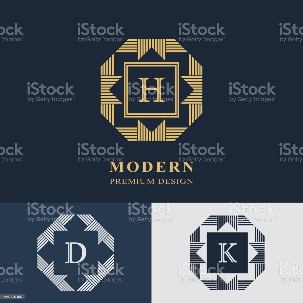 Modern logo design. Geometric linear monogram template. Letter emblem H, D, K. Mark of distinction. Universal business sign for brand name, company, business card, badge. Vector illustration vector art illustration