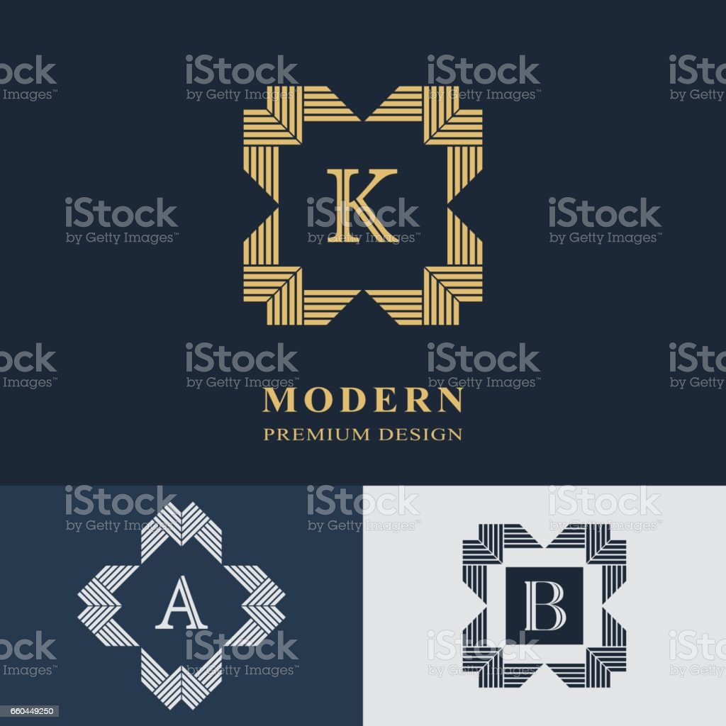 Modern logo design. Geometric linear monogram template. Letter emblem K, A, B. Mark of distinction. Universal business sign for brand name, company, business card, badge. Vector illustration vector art illustration