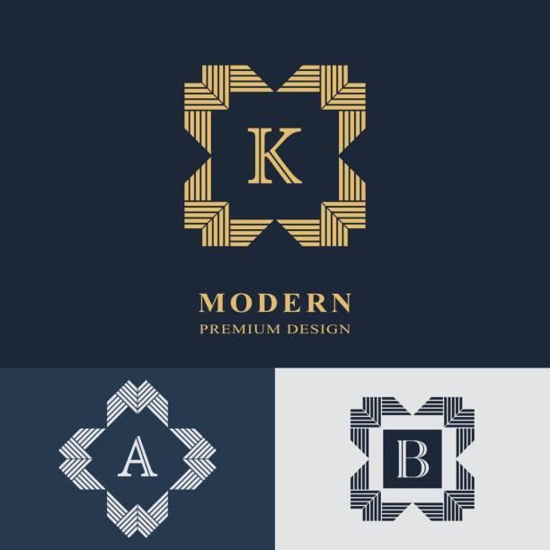 Modern logo design. Geometric linear monogram template. Letter emblem K, A, B. Mark of distinction. Universal business sign for brand name, company, business card, badge. Vector illustration vector art illustration