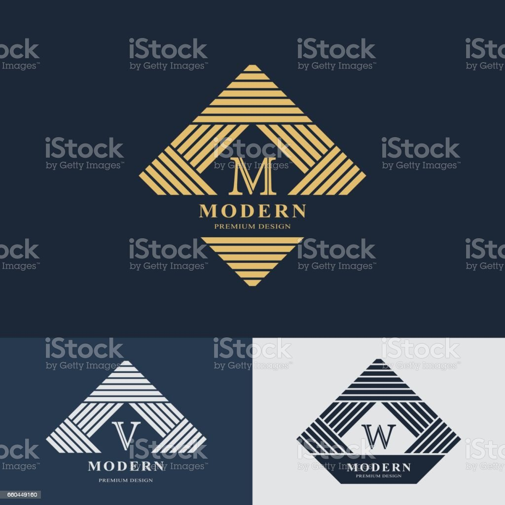 Modern logo design. Geometric linear monogram template. Letter emblem M, V, W. Mark of distinction. Universal business sign for brand name, company, business card, badge. Vector illustration vector art illustration