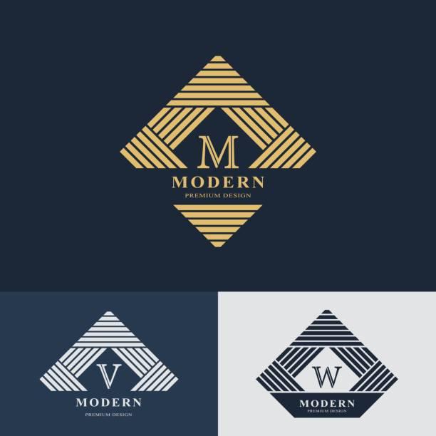 Modern logo design. Geometric linear monogram template. Letter emblem M, V, W. Mark of distinction. Universal business sign for brand name, company, business card, badge. Vector illustration vector art illustration