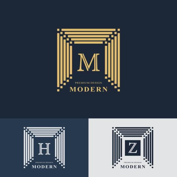 Modern logo design. Geometric linear monogram template. Letter emblem M, H, Z. Mark of distinction. Universal business sign for brand name, company, business card, badge. Vector illustration vector art illustration