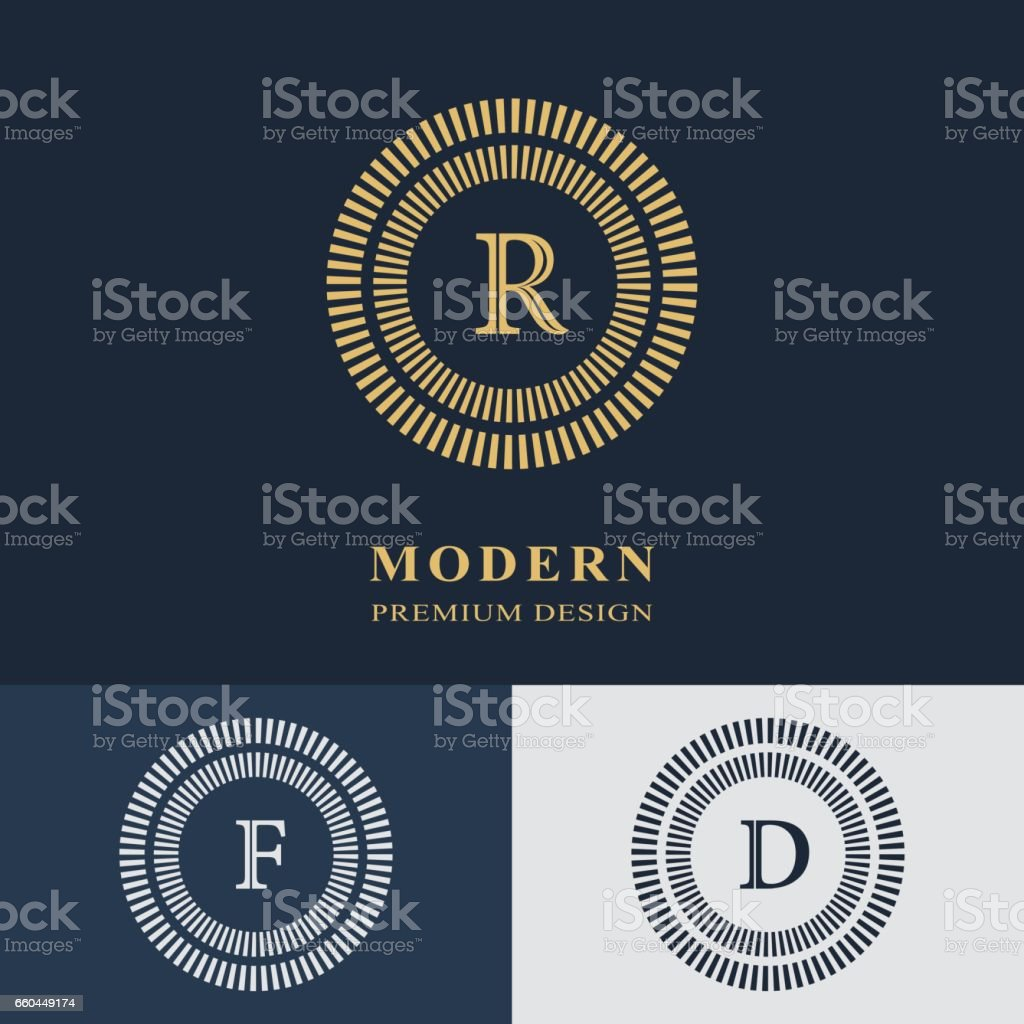 Modern logo design. Geometric linear monogram template. Letter emblem R, F, D. Mark of distinction. Universal business sign for brand name, company, business card, badge. Vector illustration vector art illustration