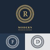 Modern logo design. Geometric linear monogram template. Letter emblem R, F, D. Mark of distinction. Universal business sign for brand name, company, business card, badge. Vector illustration