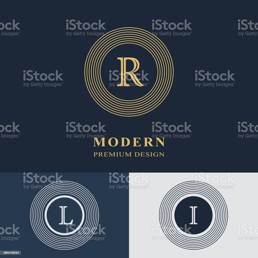 Modern logo design. Geometric linear monogram template. Letter emblem R, L, I. Mark of distinction. Universal business sign for brand name, company, business card, badge. Vector illustration vector art illustration