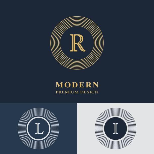 Modern logo design. Geometric linear monogram template. Letter emblem R, L, I. Mark of distinction. Universal business sign for brand name, company, business card, badge. Vector illustration vector art illustration