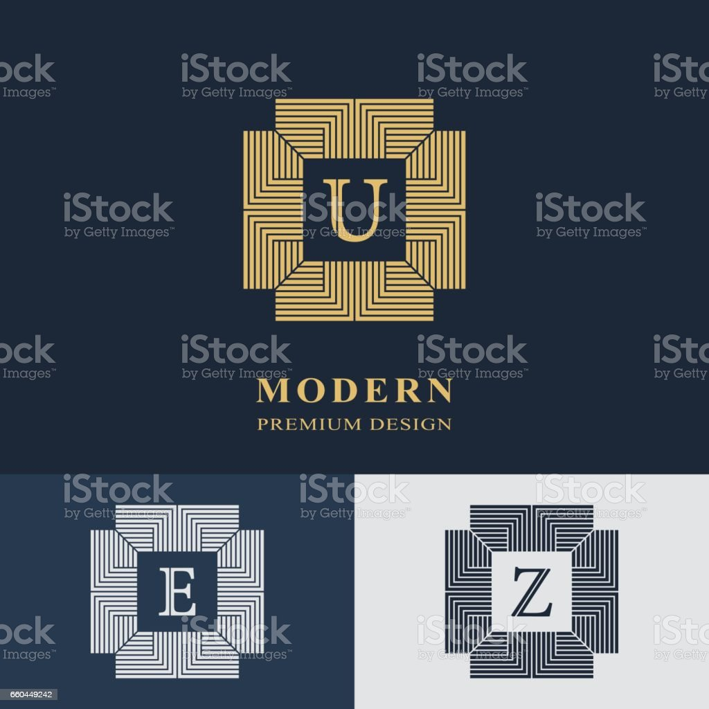 Modern logo design. Geometric linear monogram template. Letter emblem U, E, Z. Mark of distinction. Universal business sign for brand name, company, business card, badge. Vector illustration vector art illustration
