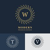 Modern logo design. Geometric linear monogram template. Letter emblem W, T, V. Mark of distinction. Universal business sign for brand name, company, business card, badge. Vector illustration